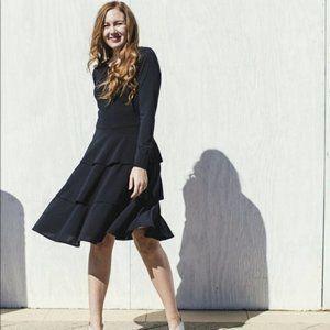 LULAROE Georgia Black Ruffle Tiered Dress